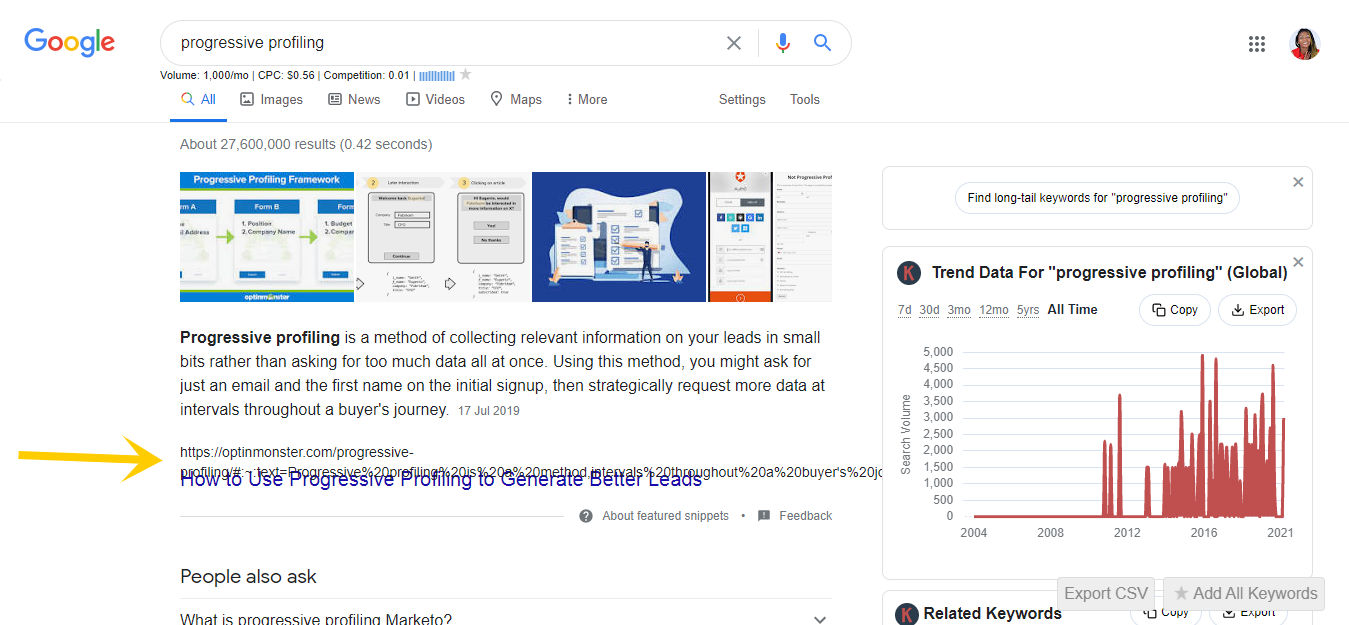 Featured snippet for main keyword